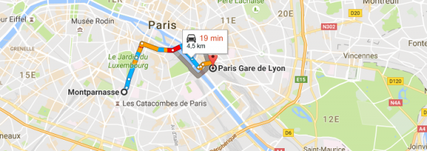 Trajet Gare de Lyon Gare Montparnasse en Taxi