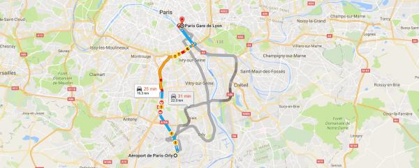Gare de Lyon Orly en Taxi